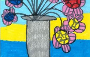 三色の花と花瓶 - Tomoyuki