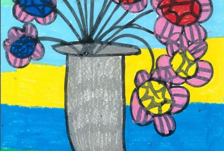三色の花と花瓶