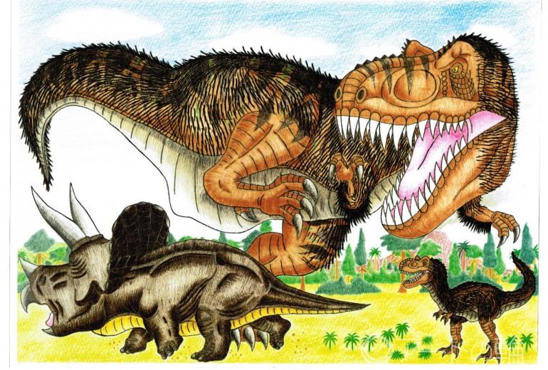 ティラノサウルス親子VSトリケラトプス