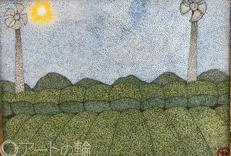 お茶畑(点描画)