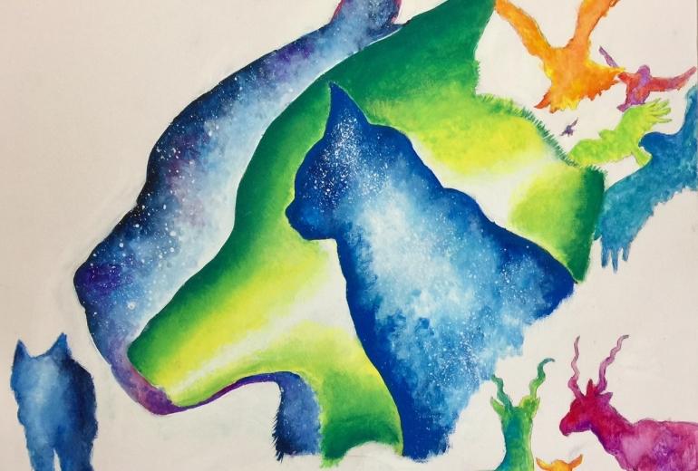 カラフル森の動物達