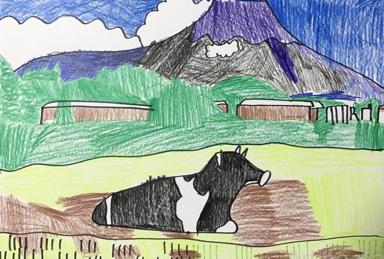 牧場と富士山