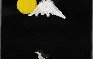 夜の富士山と湖 - Takeshi