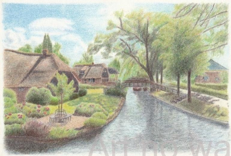 水路のある村