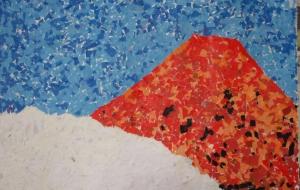 19_No65 赤富士(はぴねすくらぶ鶴ヶ島) - 第2回鶴ヶ島市立中央図書館 「障がい者アート絵画展」2018