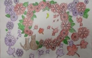 15_月と猫(井上瞳) - 第2回鶴ヶ島市立中央図書館 「障がい者アート絵画展」2018