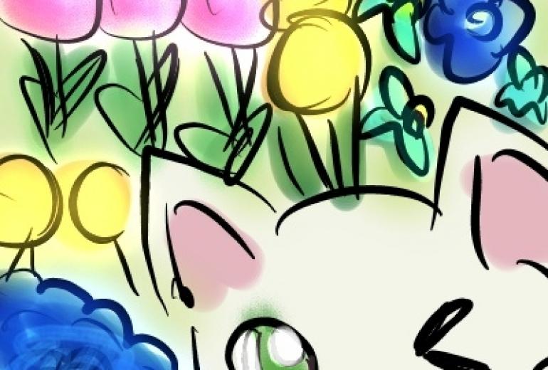 お花とニャンコ