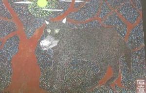 1_オオカミ(石井章) - 第2回鶴ヶ島市立中央図書館 「障がい者アート絵画展」2018