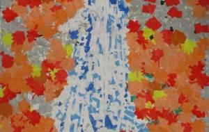 20_滝と紅葉(はぴねすくらぶ鶴ヶ島) - 第2回鶴ヶ島市立中央図書館 「障がい者アート絵画展」2018