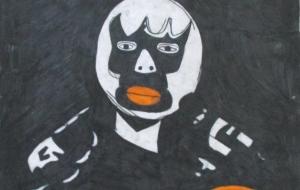 30_レコードジャケット 覆面レスラー①(ケンジ&カズヒサ) - 第2回鶴ヶ島市立中央図書館 「障がい者アート絵画展」2018