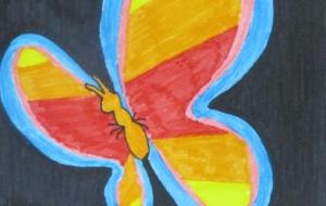 40_蝶々(新井利希男) - 第2回鶴ヶ島市立中央図書館 「障がい者アート絵画展」2018