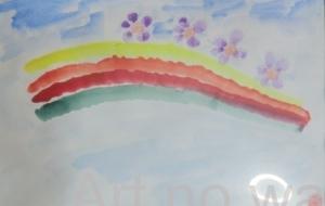 虹と紫の花 - HAKKENNTAKADA
