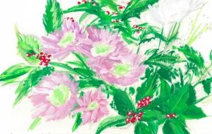 菊とセンリョウ - 高桑聡一