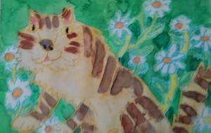 猫とマーガレット - kazu