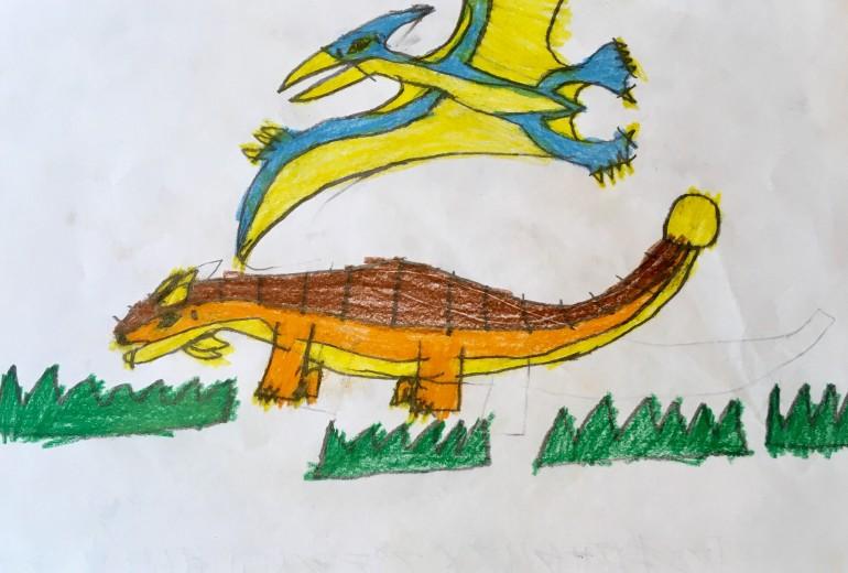 恐竜シリーズ(ケラトサウルス、プテラノドン)