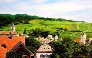 フランス田舎風景 色鉛筆画 - 白石進