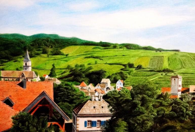 フランス田舎風景 色鉛筆画