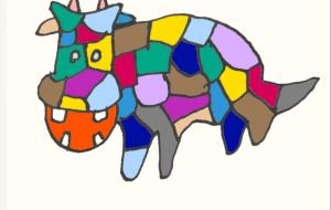 ステンド風カラー牛 - ワイルドサイレントウルフ