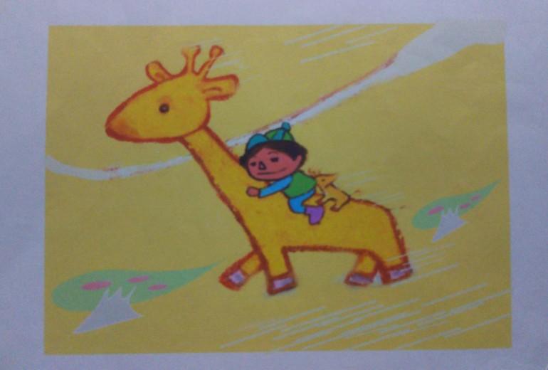 キリンにのる少年