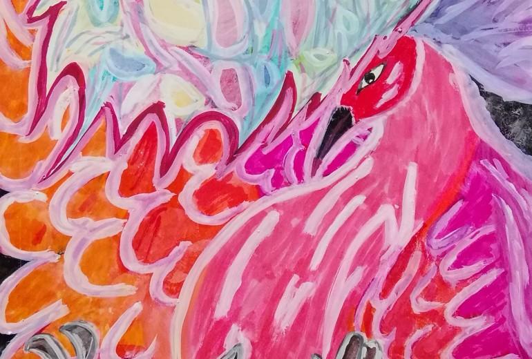 黒い海を飛ぶ幸と炎の鳥