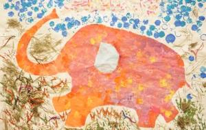 NO40 はぴねすのぞうさん_はぴねすくらぶ北坂戸 - 第3回鶴ヶ島市立中央図書館 「障がい者アート絵画展」2019