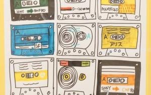 NO78 カセットテープの絵①_コバヤシカオル - 第3回鶴ヶ島市立中央図書館 「障がい者アート絵画展」2019