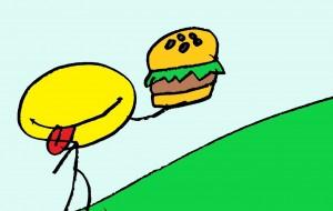 ハンバーガーを食べる - 松下侑生