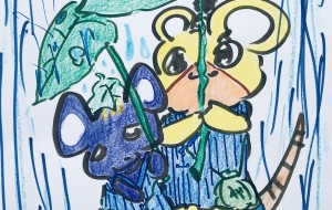 雨降りとネズミの兄妹 - クルミ