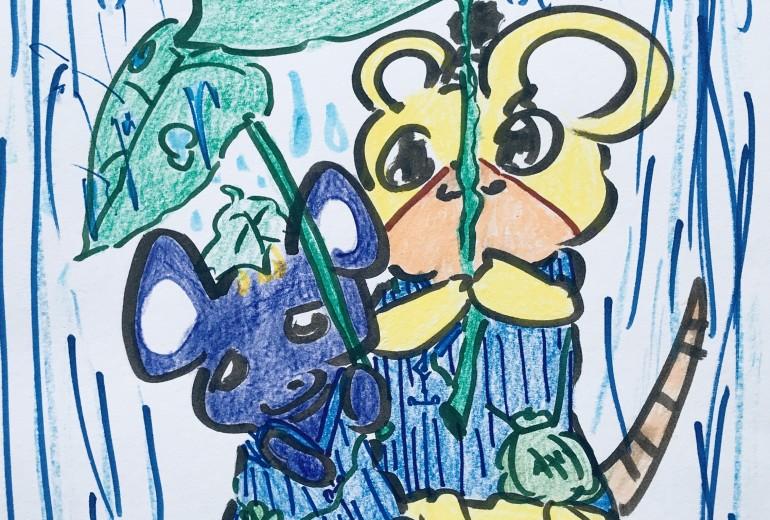 雨降りとネズミの兄妹