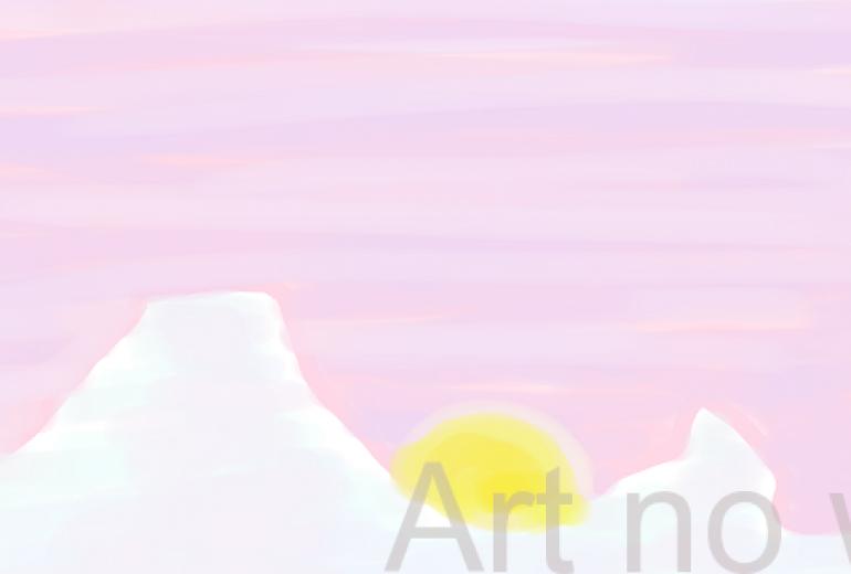 夕の月は卵の光
