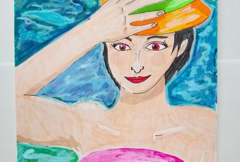 水面と帽子の女性