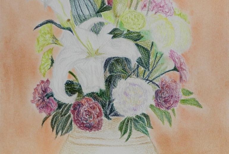 大きめな花瓶に挿した花