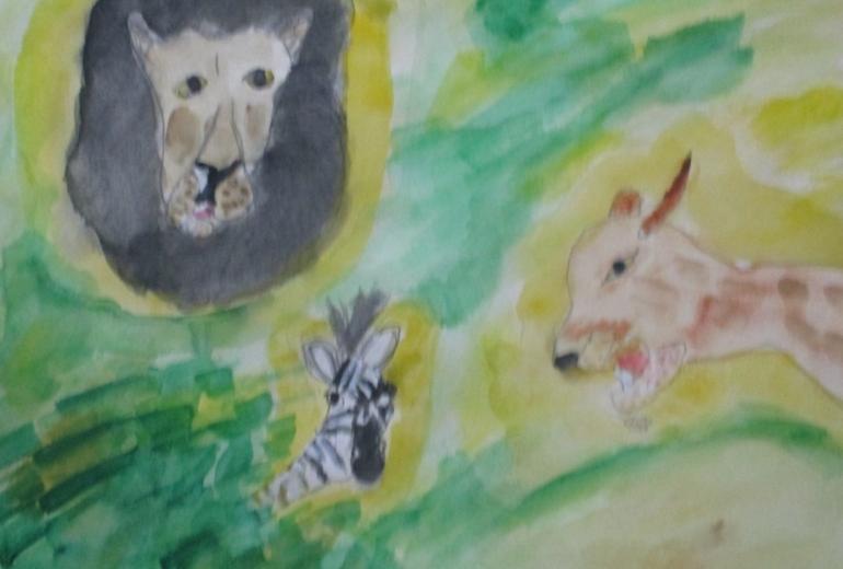 シマウマとライオン