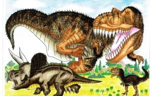 ティラノサウルス親子VSトリケラトプス - Yossie