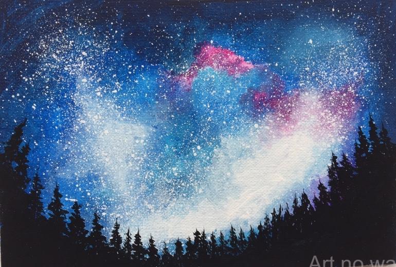 森から見上げた星空