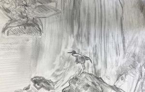 滝と鳥(仮) - (公財)日本チャリティ協会:パラアートスクール