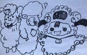 羊と女の子 - クルミ