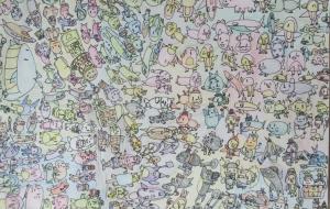 49_ゆかいな水族館(石井俊也) - 第2回鶴ヶ島市立中央図書館 「障がい者アート絵画展」2018