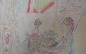 7_ピカソのミューズの絵(小林皇太) - 第2回鶴ヶ島市立中央図書館 「障がい者アート絵画展」2018