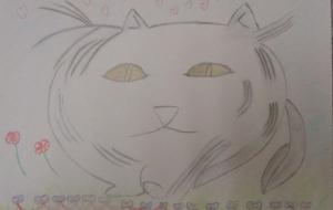 6_ペルシャ猫(平山紀子)  - 第2回鶴ヶ島市立中央図書館 「障がい者アート絵画展」2018