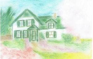 緑の切妻屋根の家 - minko