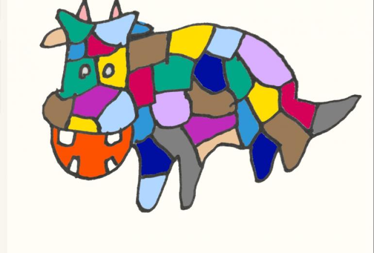 ステンド風カラー牛