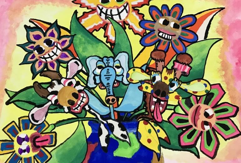 地球の壺に咲く色んな花