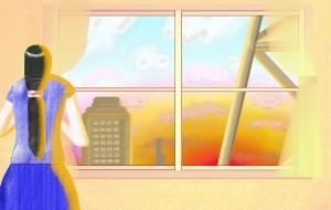 とある夕日の風景 - 指一本のアーティスト