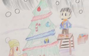NO27 クリスマスツリーの飾りつけ_小野田裕太 - 第3回鶴ヶ島市立中央図書館 「障がい者アート絵画展」2019