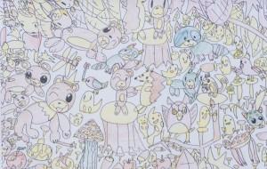 NO47 動物たちの秋まつり_石井俊也 - 第3回鶴ヶ島市立中央図書館 「障がい者アート絵画展」2019