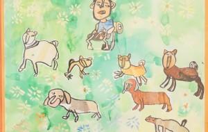NO4 犬とあそぶぼく_篠崎幸汰 - 第3回鶴ヶ島市立中央図書館 「障がい者アート絵画展」2019