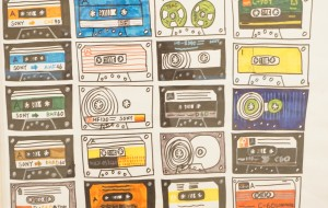 NO78 カセットテープの絵②_コバヤシカオル - 第3回鶴ヶ島市立中央図書館 「障がい者アート絵画展」2019