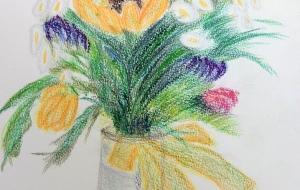 花瓶に挿した花 - 三日月 克年