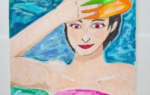 水面と帽子の女性 - さゆり